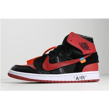 Off-White x Air Jordan 1 Banned Black/University Red-White AA3834-003
