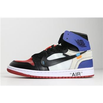 2018 Off White x Nike Air Jordan 1 Black Varsity Royal Varsity Red White