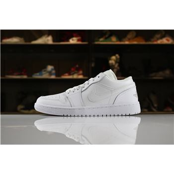 Men's and Women's Air Jordan 1 Low Triple White 553558-170