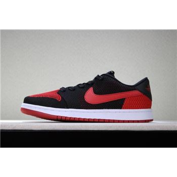 New Air Jordan 1 Low Flyknit Banned Black/Varsity Red-White Men's Size