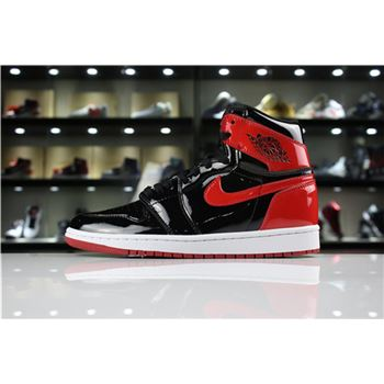 2018 Air Jordan 1 High OG NRG Patent Leather Banned Black/White-University Red 861428-061