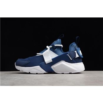 Mens and Womens Nike Air Huarache City Low Navy White Running Shoes