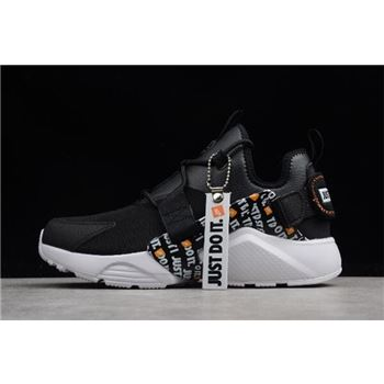 Nike Air Huarache City Low PRM Just Do It Black White Total Orange