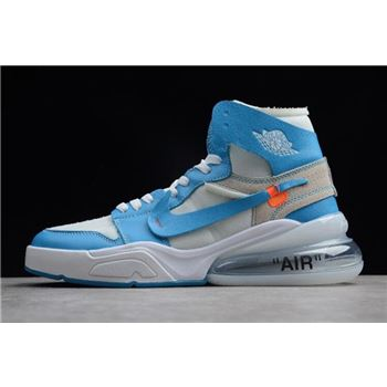 Off White x Nike Air Force 270 x Air Jordan 1 High UNC White Dark Powder Blue Cone