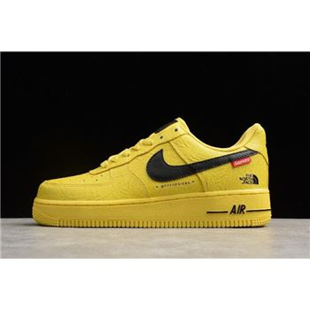 Supreme x The North Face x Nike Air Force 1 '07 Yellow Black For Sale