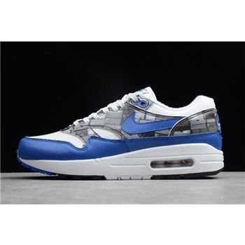 Atmos x Nike Air Max 1 Print We Love Nike White Game Royal Neutral Grey