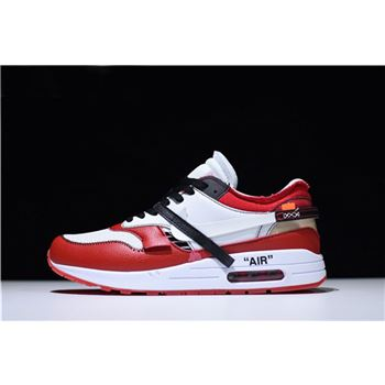 BespokeIND x Off White x Nike Air Max 1 White Black Varsity Red