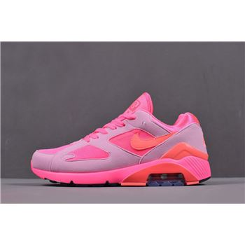 Mens and Womens Nike Air Max 180 CDG Laser Pink Solar Red Pink Rise