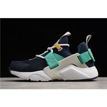 WMNS Nike Air Huarache City Low Obsidian White Vast Grey Kinetic Green