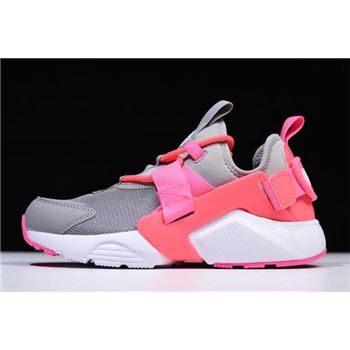 Women's Nike Air Huarache City Low Cream Grey/Sun Red-White Pink AH6804-007