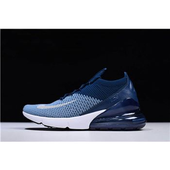 Mens Nike Air Max 270 Flyknit Work Blue White Brave Blue