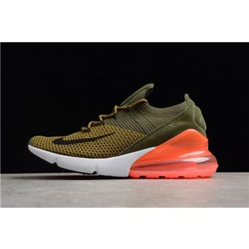 Mens and WMNS Nike Air Max 270 Flyknit Army Green Dark Green Black