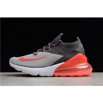 Mens and WMNS Nike Air Max 270 Flyknit Black Grey Orange White
