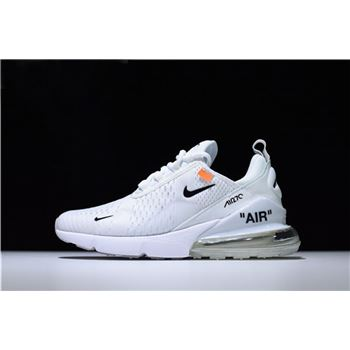 Mens and WMNS Off White x Nike Air Max 270 Running Shoes White