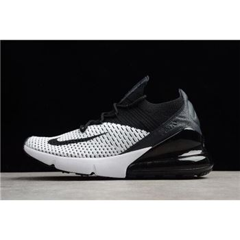 Men's and Women's nike shox sneaker nz eu uk shoe sale today 270 Flyknit White/Black Running Shoes