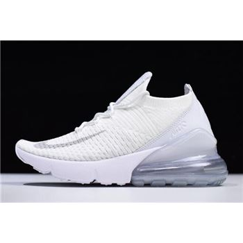 Nike Air Max 270 Flyknit Triple White White Pure Platinum