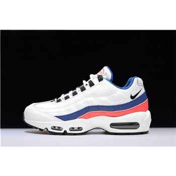 Mens and WMNS Nike Air Max 95 White Black Solar Red Ultramarine
