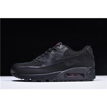 Nike Air Max 90 Essential Black Metallic Silver Red