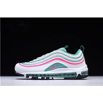 Mens and WMNS Nike Air Max 97 South Beach White Pink Blast Kinetic Green Black