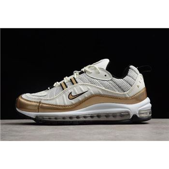 Nike Air Max 98 UK Summit White/Metallic Gold AJ6302-100 Free Shipping