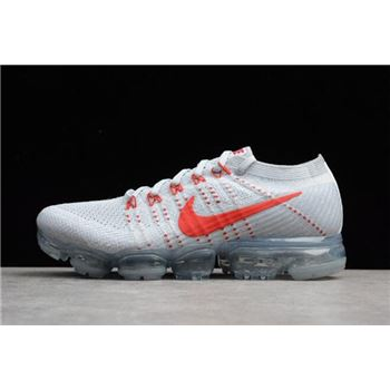 Nike Air VaporMax Flyknit Pure Platinum University Red Wolf Grey