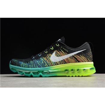 Mens Nike Flyknit Air Max Black Turbo Green Volt Running Shoes