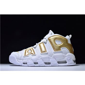 Nike Air More Uptempo White Metallic Gold Mens Size Shoes