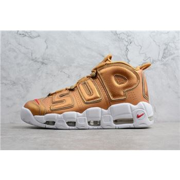 Supreme x Nike Air More Uptempo Metallic Gold/White Men's Size 902290-700