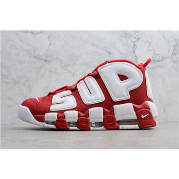 Supreme x Nike Air More Uptempo Red White Men's Shoes 902290-600