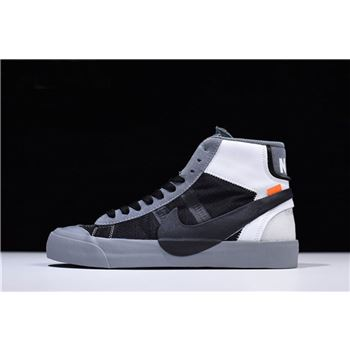 2018 New Off White x Nike Blazer Studio Mid Wolf Grey Pure Platinum Black Cool Grey