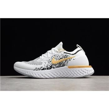 Mens Nike Epic React Flyknit White Black Gold