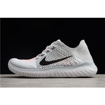 Men's Nike Free Run Flyknit 2018 Pure Platinum/Black-White Running Shoes 942838-003