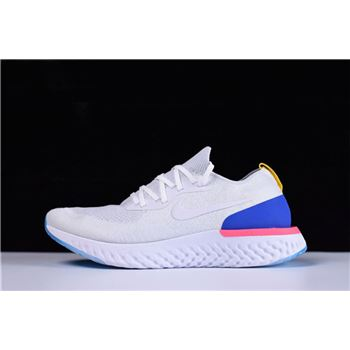 Mens and WMNS Nike Epic React Flyknit White Racer Blue Pink Blast