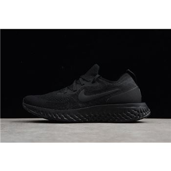 Mens and Womens Nike Epic React Flyknit Triple Black Running Shoes