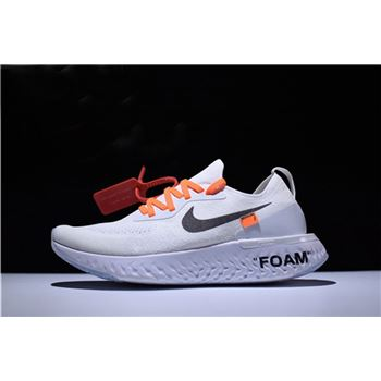 Mens and Womens Size Off White x Nike Epic React Flyknit White Running Shoes