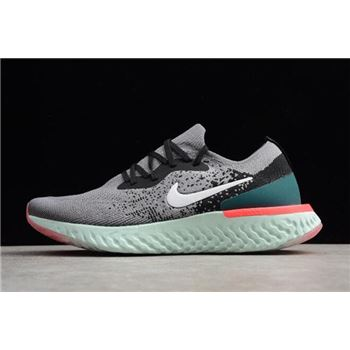 Nike Epic React Flyknit Light Grey Black Green Running Shoes