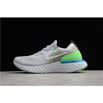 Nike Epic React Flyknit Light Grey Green Blue Running Shoes