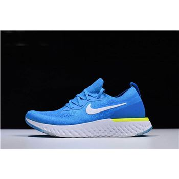 nike lunar fire university red shoes 2018 Flyknit Volt Glow Blue Glow/White-Photo Blue-Volt Glow In Men's Sizing AQ0067-401