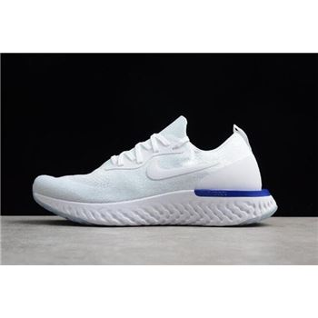 Nike Epic React Flyknit White Fusion White Blue AQ0067-100 Men's and Women's Size
