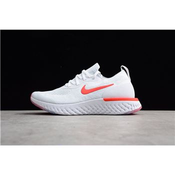 Nike Epic React Flyknit White Red Men's Running Shoes AQ0067-800