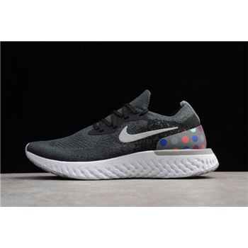 Nike Epic React Flyknit iD Black And Grey Dots Running Shoes