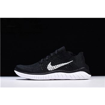 Nike Free Rn Flyknit 2018 Black White Running Shoes 942838-001