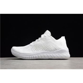 Nike Free Rn Flyknit 2018 Triple White Mens and Womens Running Shoes