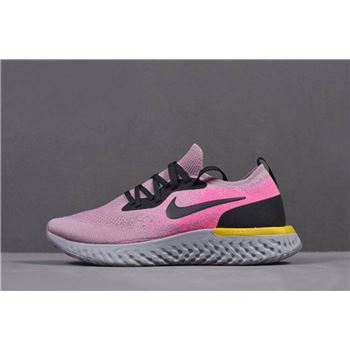 Womens Nike Epic React Flyknit Pink Yellow Black Grey Running Shoes