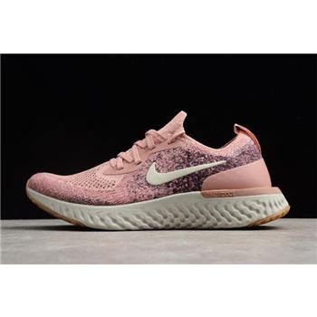 Womens Nike Epic React Flyknit Powder Rice White Running Shoes