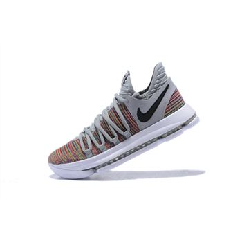 Mens Nike KD 10 Multi Color Black Cool Grey White Basketball Shoes