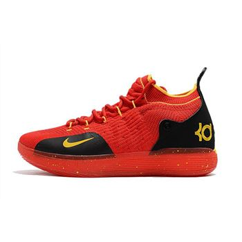 Mens Nike KD 11 University Red Black Yellow Basketball Shoes