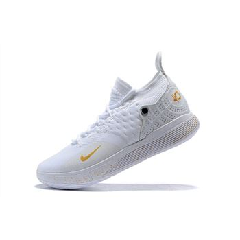 Mens Nike KD 11 White Metallic Gold Basketball Shoes