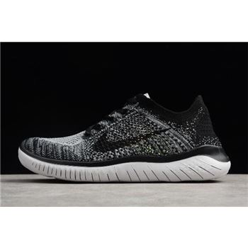 Nike Free Run Flyknit 2018 White Black Mens Running Shoes