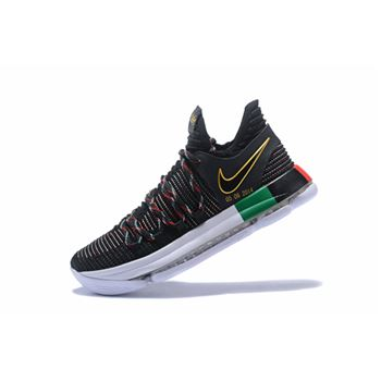 Nike KD 10 BHM Black Multi Color Mens Basketball Shoes